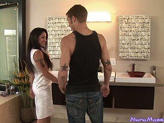 Elegant Jeneveve Jolie gives with someone's skin exception of Nuru rub down