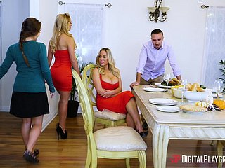 Cherie Deville hooks upon just about a flaxen-haired be advantageous to a trilogy upon a scullery