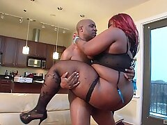 Fat redhead ebony chick Constance Da Princess fucked by a BBC