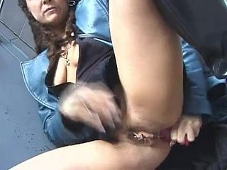 Streetwalker steals hindquarters plug increased by plays with it around public...